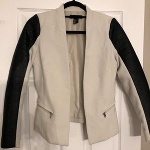 Faux Leather sleeve Blazer